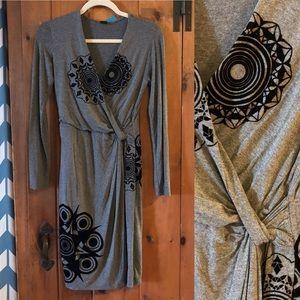 Desigual knit dress with velour appliqués S